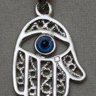 Hallmark Egyptian Islamic Silver Platinum Plated Pendant,925, Fatima Hand مصر