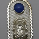 Hallmark Egyptian Pharaoh Silver Pendant 800,Cartouche with Scarab &Lapis