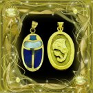 Hallmark 18 K. Gold Charming pendant Egypt Pharo's  Luck Scarab W. Gemstone