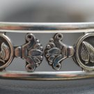 Hallmark Egyptian Oxide Silver Bracelet decorated with Cleopatra & Lotus