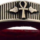 Hallmark Egyptian Pharaoh Silver Cuff Bracelet, Key of life and Lotus