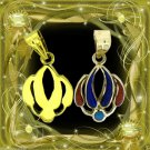 Egyptian HallMark 18 Karat Gold pendant, Egypt Pharao's Lotus Flower W. Gemstone