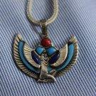 Hallmark Egypt Pharaoh Sterling Silver goddess ISIS Pendant Charm Turquoise +