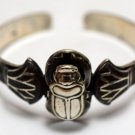 Hallmark Egyptian Art Oxidized Silver Bracelet,SCARAB and Lotus flower