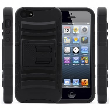 RUGGED COMBO CASE & BELT CLIP HOLSTER KICKSTAND FOR IPHONE 4, 4s