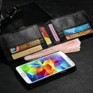 Luxury PU Leather 6 Card Slots Magnetic Wallet Stand Flip Case Male Man Black for Samsung S5