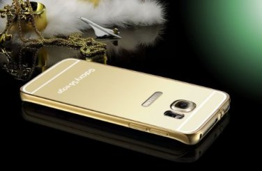 Gold Luxury Slim Aluminum Metal Bumper Mirror Back Case Cover For Samsung Galaxy S 6