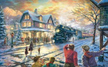 """All Aboard for Christmas - inspirated to Kinkade - 35.43"""" x 22.14"""" - Cross Stitch Pattern Pdf C456"""