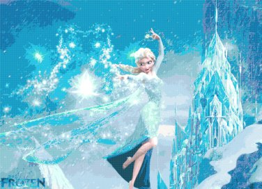 "Elsa and the castle Frozen - 35.43"" x25.71"" - Cross Stitch Pattern Pdf C106"