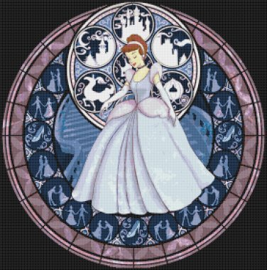 "Cinderella stained glass - 19.93"" x 20.14""  - Cross Stitch Pattern Pdf C771"