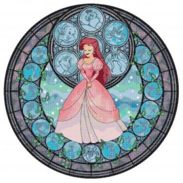 "Ariel stained glass - 19.86"" x 19.86""   - Cross Stitch Pattern Pdf C775"