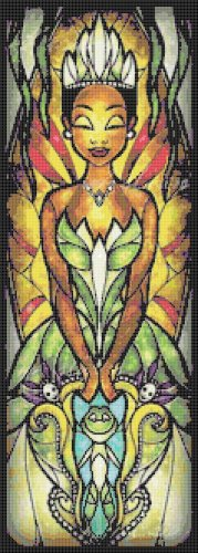 """Princess and the frog stained glass - 8.50"""" x 23.64"""" - Cross Stitch Pattern Pdf C785"""