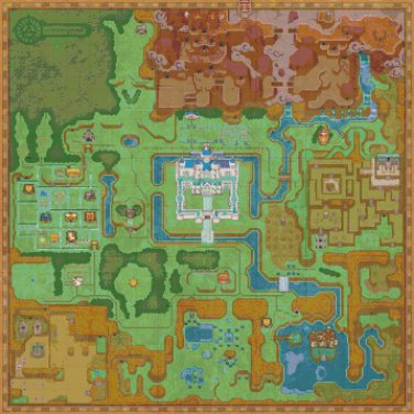 """Zelda a link between hyrule maps - 24.57"""" x 24.57"""" - Cross Stitch Pattern Pdf C801"""