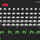 "Space invaders level - 23.64"" x 13.29"" - Cross Stitch Pattern Pdf C803"