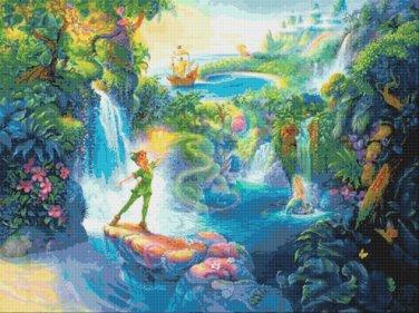 "Peter Pan in Neverland - 35.40"" x 26.50"" - Cross Stitch Pattern Pdf C805"