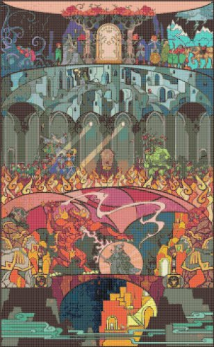 "Lord of rings - 15.71"" x 25.43"" - Cross Stitch Pattern Pdf C821"