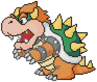 "Bowser Zelda - 31.50"" x 24.40"" - Cross Stitch Pattern Pdf C755"