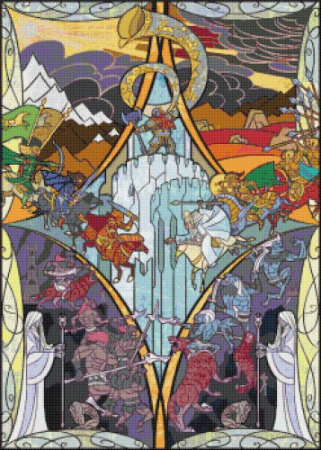 "The horn of king helm sounded - 17.71"" x 24.79"" - Cross Stitch Pattern Pdf C837"