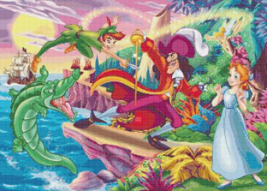 "Peter Pan - 23.64"" x 16.93"" - Cross Stitch Pattern Pdf C852"