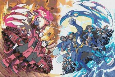 "Pokemon ORAS Aqua vs Magma - 25.07"" x 17.00"" - Cross Stitch Pattern Pdf C853"