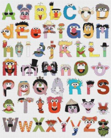 """Alphabet Muppets characters - 19.71"""" x 24.57"""" - Cross Stitch Pattern Pdf C557"""