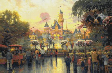 "Disneyland - inspirated to Kinkade - 35.43"" x 23.43"" - Cross Stitch Pattern Pdf C890"