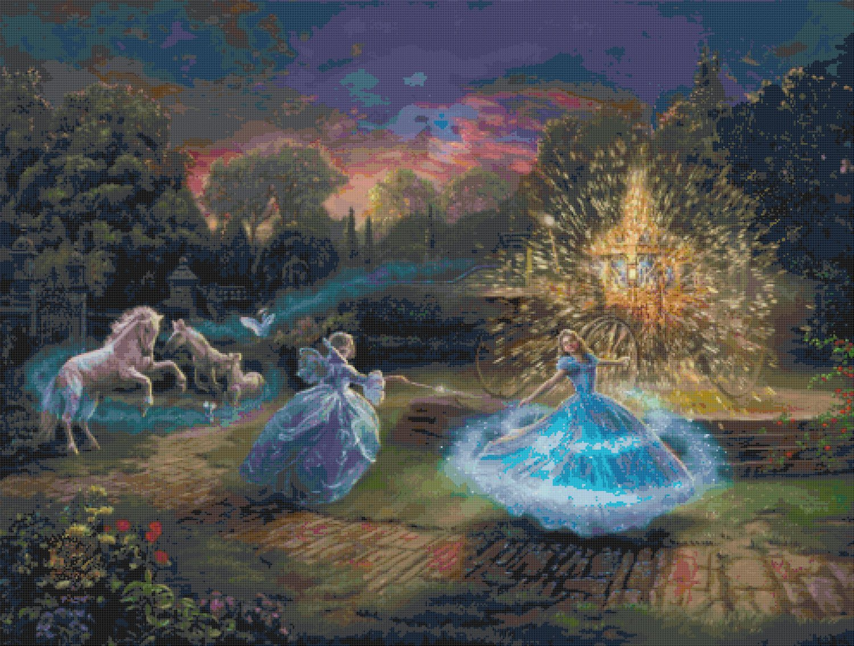 "Wishes Granted Cinderella - inspirated to Kinkade - 35.43"" x 26.79"" - Cross Stitch Pattern Pdf C893"