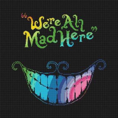 "We re All Mad Here Alice In Wonderland Cheshire Cat - 5.71"" x 15.71"" - Cross Stitch Pattern Pdf C983"