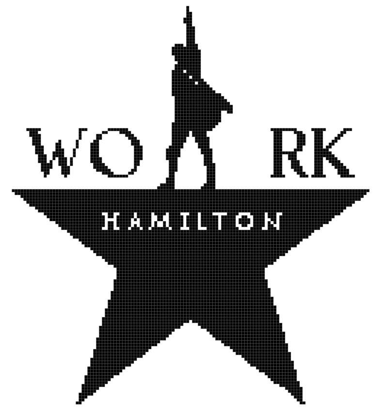 "Hamilton Broadway Musical - 9.28"" x 10.07"" - Cross Stitch Pattern Pdf C1080"