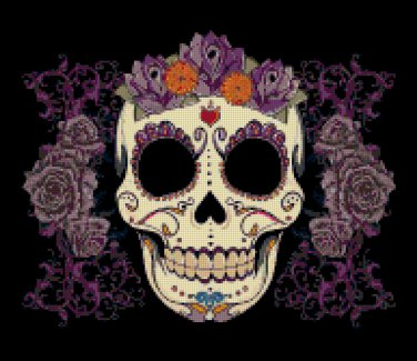 "Sugar Skull  - 13.79"" x 11.93"" - Cross Stitch Pattern Pdf C776"
