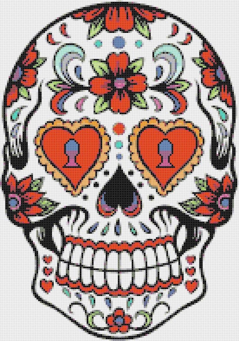 """Sugar Skull  - 9.86"""" x 14.07"""" - Cross Stitch Pattern Pdf file chart C685"""