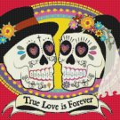 "Sugar Skull Couples  - 17.71"" x 14.50"" - Cross Stitch Pattern Pdf file chart C910"