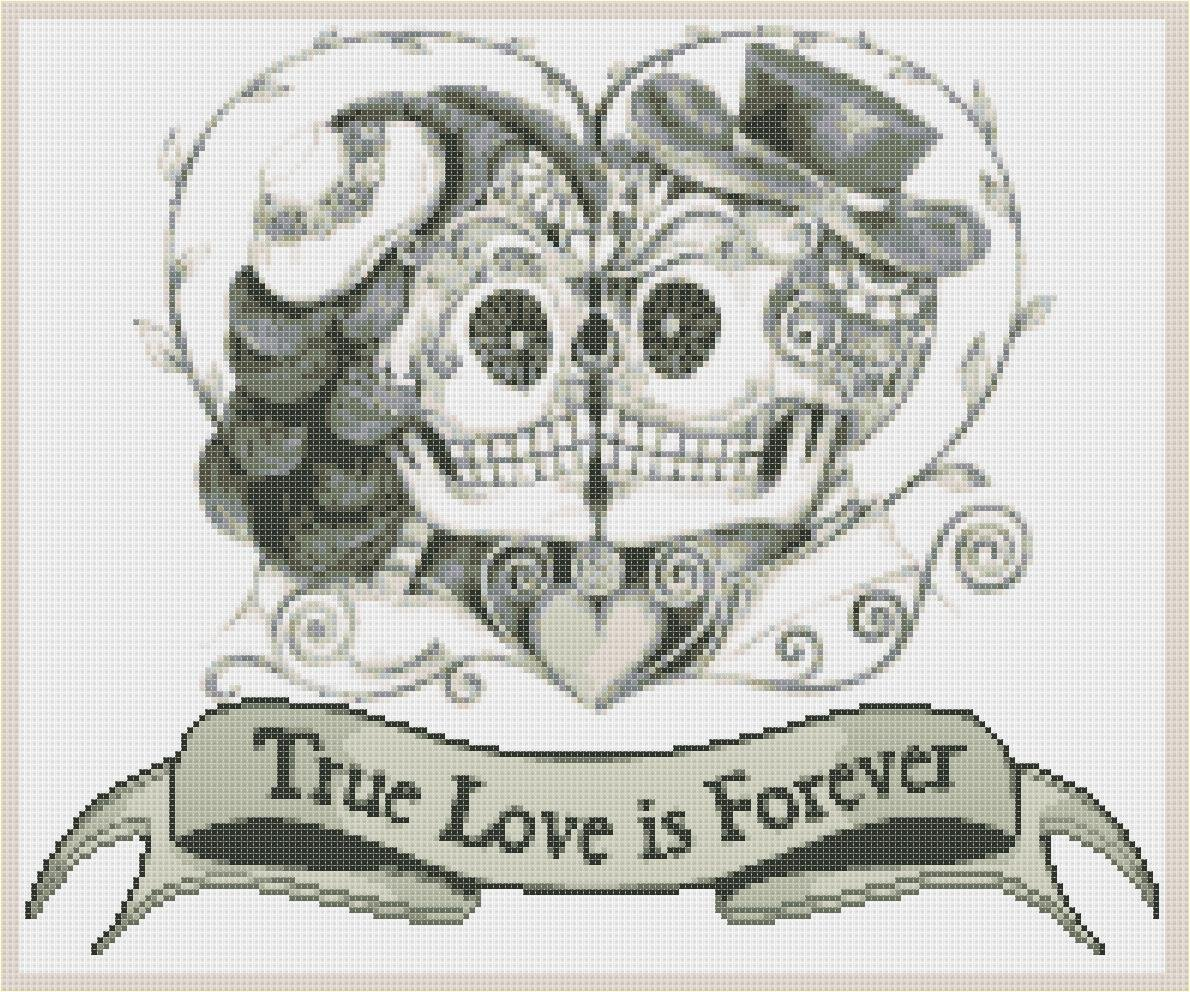 "Sugar Skull Couples  - 14.14"" x 11.79"" - Cross Stitch Pattern Pdf file chart C1177"