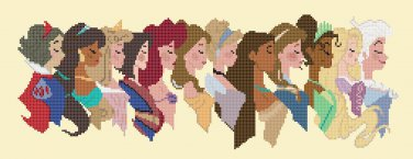 "12 princesses profile - 17.86"" x 6.71"" - Cross Stitch Pattern Pdf C1262"