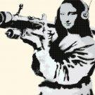 "Mona Lisa murales by banksy - street art - 20.36"" x 13.29"" - Cross Stitch Pattern Pdf C1317"