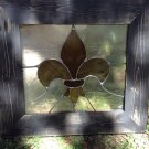 Stained Glass Fleur de lis Panel Framed