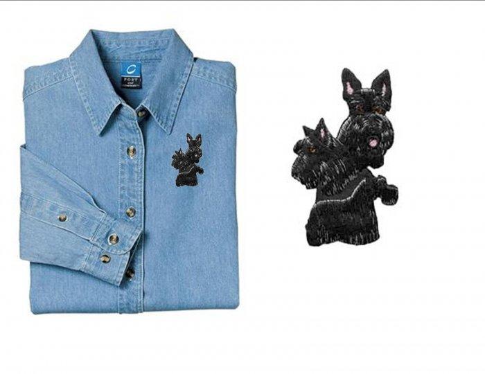Scotty Dog Ladies Embroidered Appliqué Denim Shirt