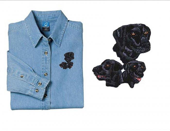 Black Lab Dog Ladies Embroidered Appliqué Denim Shirt