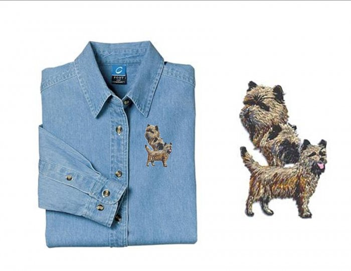 Cairn Terrier Dog Ladies Embroidered Appliqué Denim Shirt