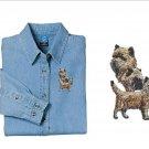 Cairn Terrier Dog Ladies Embroidered Appliqué Denim Shirt