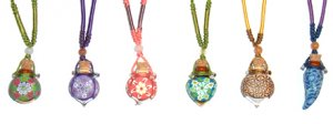 Aroma pendants with cotton string in assorted colours