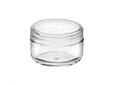 72 piece set of 1/5 oz CLEAR Plastic Jars with Natural Lids