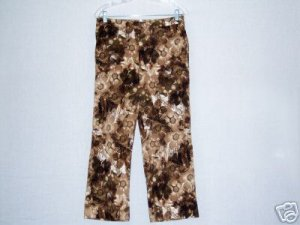 Chicos Size 1 Brown Floral Print pants wide leg Stretch