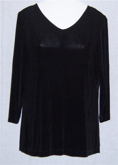 Citiknits S Small Black Slinky Top Shirt V neck Stretch