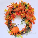 Whimsical Autumn Harvest Wreath with Pumpkin and Natural Preserved Leaves