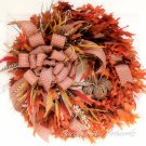 Autumn Harvest Wreath with Natural Preserved Leaves, Grapevine Pumpkin, cat tails, handmade bow.