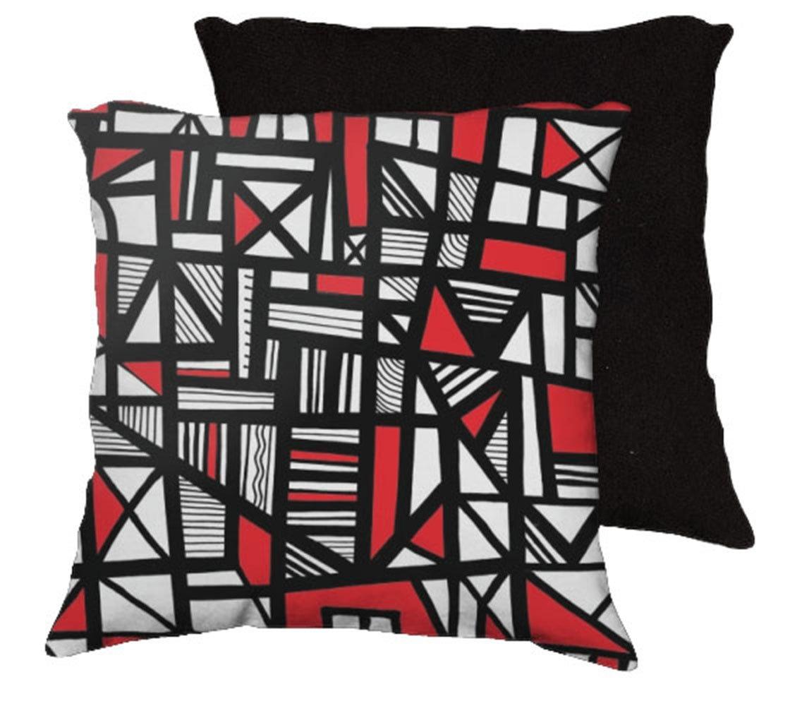 delvalle 18x18 red white black black back cushion case throw