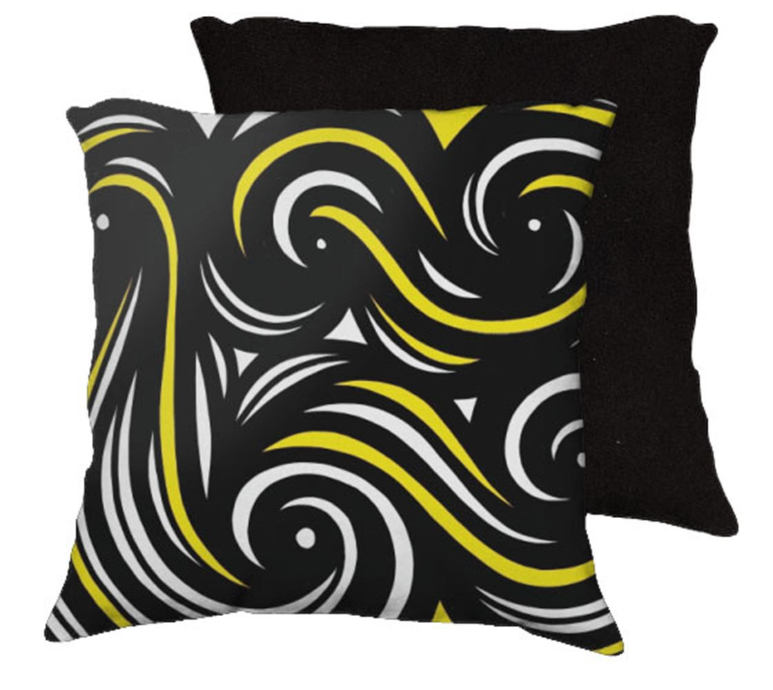 huser 18x18 yellow black black back cushion case throw pillo