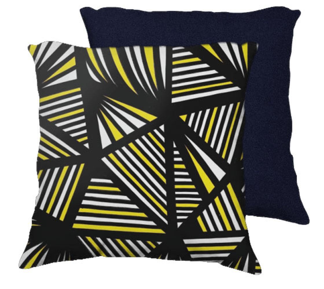 haut 18x18 yellow black blue back cushion case throw pillow