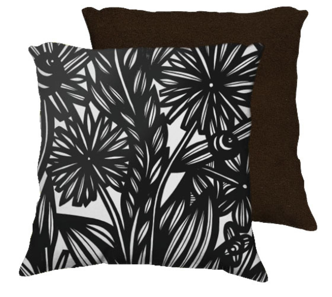 Black White Tan Throw Pillows : Baroni 18X18 Black White Flowers Floral Botanical Brown Back Cushion Case Throw Pillow Cover
